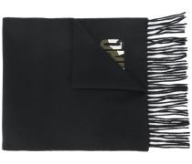 fringed camouflage logo scarf