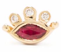 14kt yellow  Celestial eye diamond and ruby stud earring