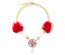 'Majolica' Halskette mit Pelzbommeln