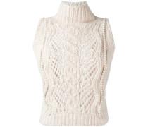 pearl-embellished sleeveless sweater
