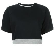 Cropped-Sweatshirt mit Kontrastsaum