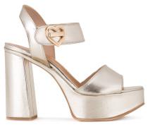 Metallic-Sandalen mit Blockabsatz