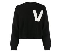 Intarsien-Pullover mit V-Ausschnitt