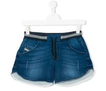 distressed effect denim shorts