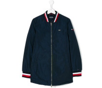 striped trim bomber jacket
