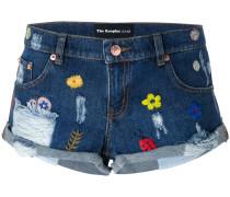 Jeans-Shorts mit Blumenstickereien