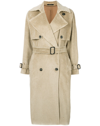 rib textured belted coat