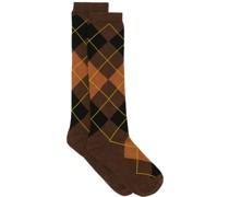 monogram-embroidered argyle socks