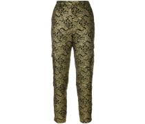jacquard slim fit trousers