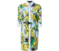 leaves print shirt dress