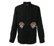 Hemd mit Tigerstickerei - men - Viskose/Tencel