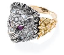 18kt Goldring mit Diamanten