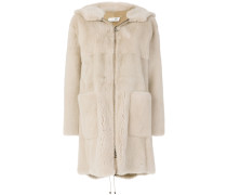 hooded mid fur coat