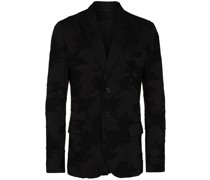 floral-print single-breasted blazer jacket