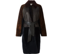 panelled belt long coat