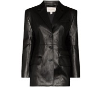 faux-leather single-breasted blazer