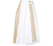 side stripe paperbag midi skirt
