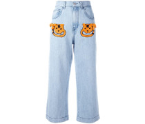 Cropped-Jeans mit Applikationen