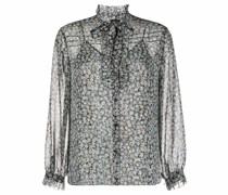 floral-print semi-sheer shirt