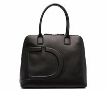 debossed-detail faux-leather tote bag