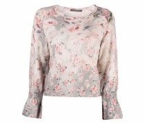 floral-print knitted jumper