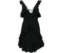 Gerüschtes Kleid mit V-Ausschnitt