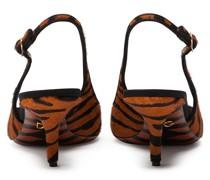 Slingback-Pumps mit Tiger-Print