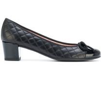 quilted block heel ballerina shoes