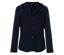 textured hooded blazer