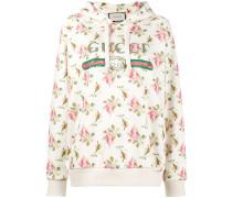 Rose print fake logo hoodie