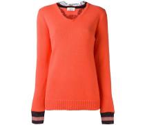 Pullover mit Spitzen-Kragen