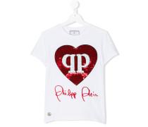 T-Shirt mit Paillettenherz