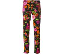 Cropped-Jeans mit floralem Print