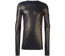 Geripptes Langarmshirt mit Metallic-Effekt