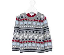 Intarsien-Pullover mit Kaninchenmotiv