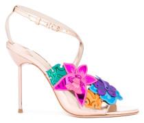 Metallic-Sandalen mit Blumenapplikation