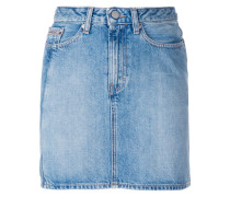 vertical stripe denim mini skirt