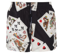 Black swim shorts with cards print