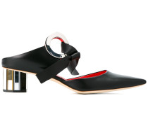 Black Grommet 40 Leather Mules