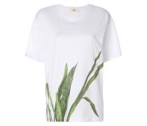Oversized-T-Shirt mit Blatt-Print