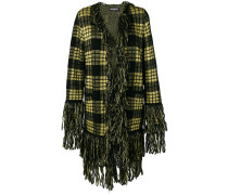 checked fringe cardi-coat