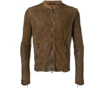 banded neck leather jacket