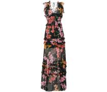 floral print frill trim maxi dress