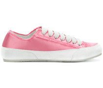 raw edge lace-up sneakers