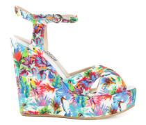 Wedge-Sandalen mit Tropen-Print