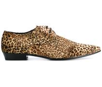 Derby-Schuhe mit Leoparden-Print