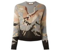 Intarsien-Pullover mit Storchmotiv