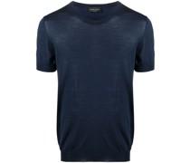 Merino-T-Shirt mit gerippten Bündchen