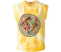 T-Shirt in Batikoptik mit Stickerei