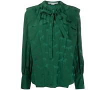 Jacquard-Bluse mit Schleifenkragen